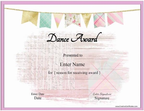 Dance certificate template with a pink banenr and a pink frame