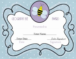 light blue certificate with a cute picture of a bee