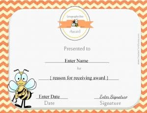Geography Bee award certificate