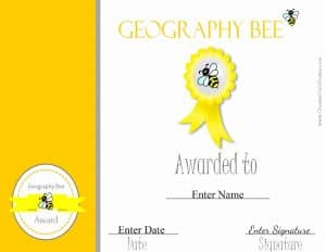 Geography Bee award