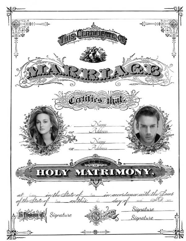 vintage wedding certificate