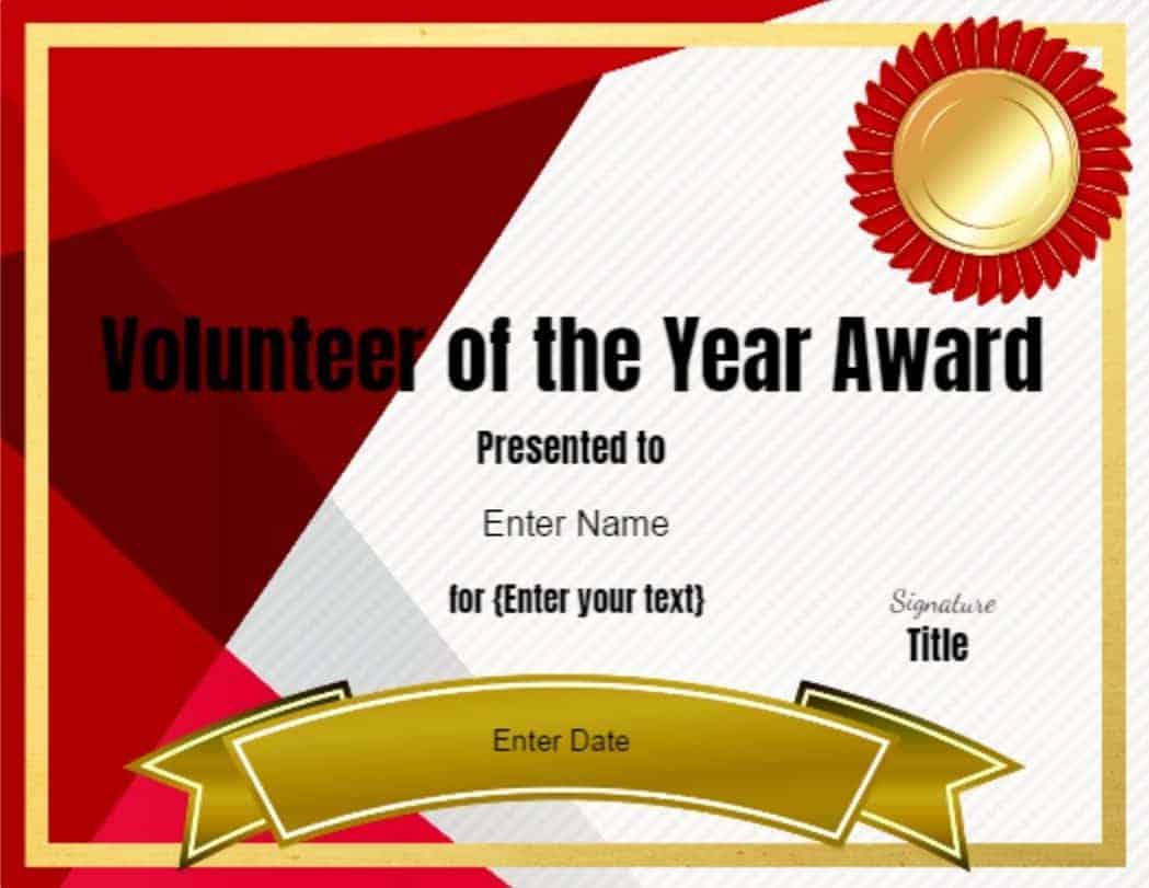 Volunteer Certificate of Appreciation  Customize Online then Print Within Volunteer Certificate Templates