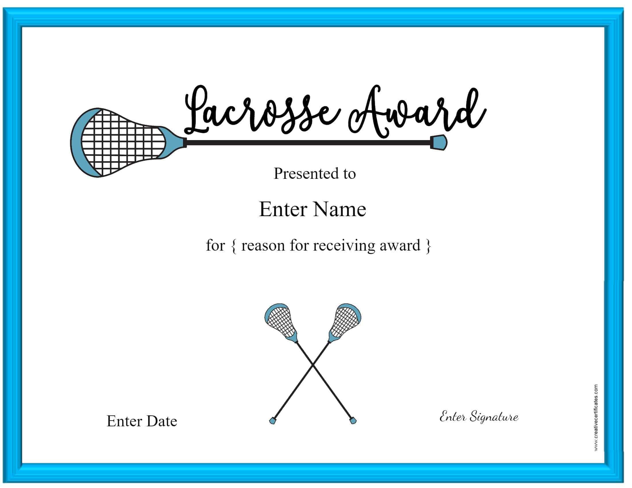 Lacrosse award certificate