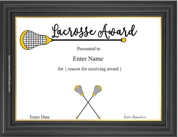 Lacrosse certificate