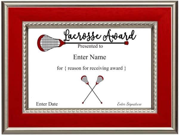 Printable lacrosse certificates