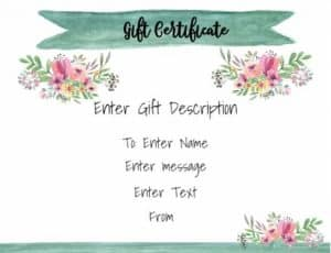 Pretty gift certificate template with white background with watercolor flowers