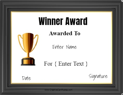 winner award template