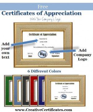certificate of appreciation sample