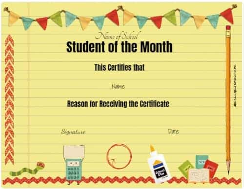 student certificate on yellow lined paper
