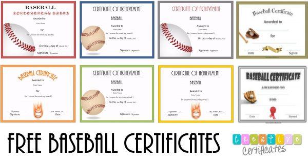 baseball certificates