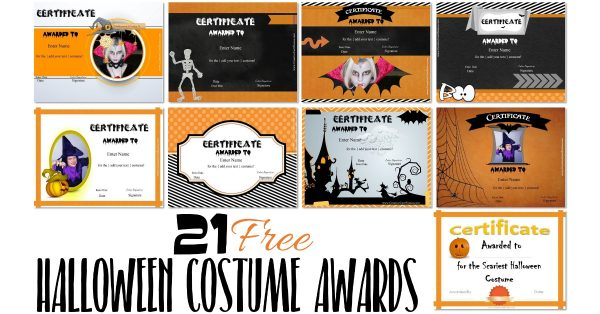 Free Halloween Costume Awards Customize Online Instant Download