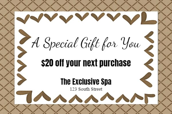 Free printable spa gift voucher template