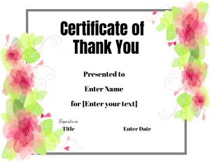 Certificate of thanks and appreciation