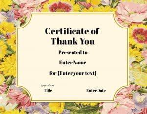 Flower certificate