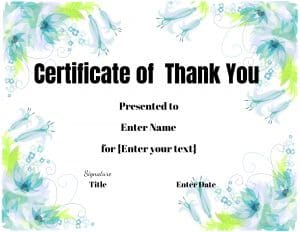 Thank you teacher certificate