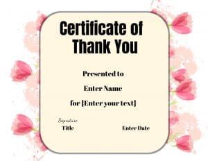 Free printable thank you certificates