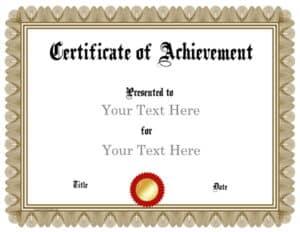 Bronze award certificate printable