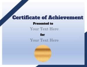 Sample lifetime achievement award certificate