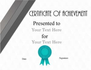 Achievement award template free