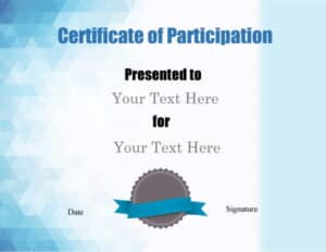 Certificate of Participation in shades of blue