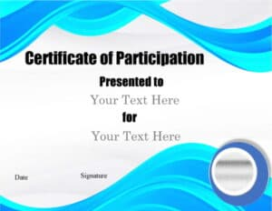 Blue wavy pattern on the top and bottom of the award certificate