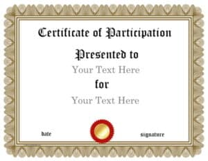 Gold ornate certificate border with a red and gold award ribbon