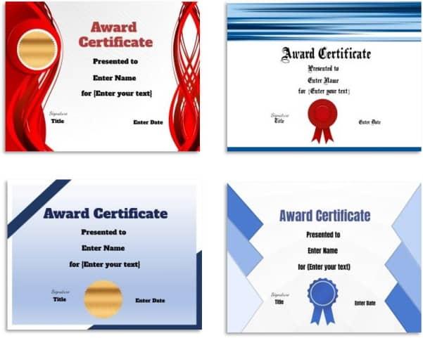 Printabe certificates