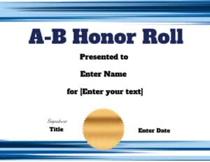 A-B Honor with blue border