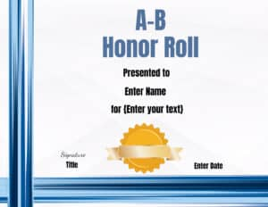 A-B Honor with blue frame