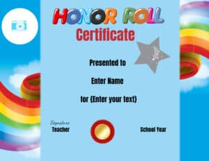 Colorful honor roll template