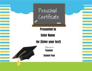 Certificate for preschool kids
