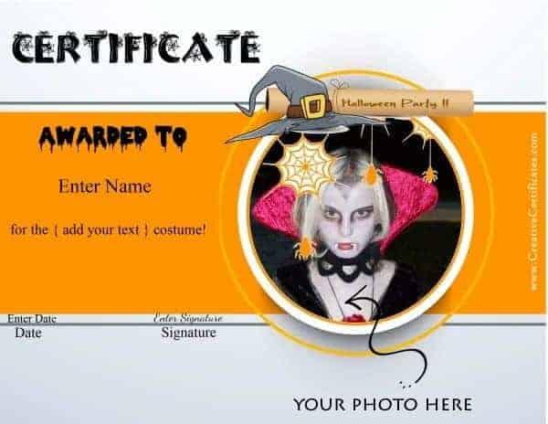 Halloween costume award certificate