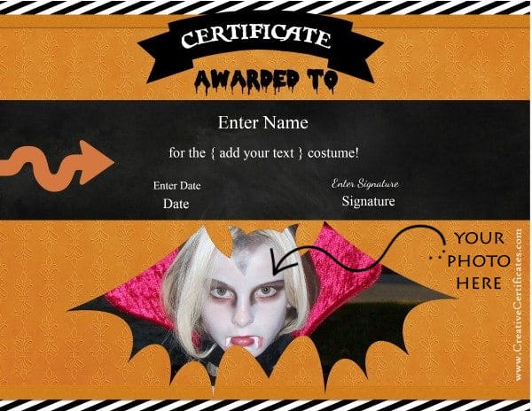 Halloween certificate templates. Add your own photo and text before you print.