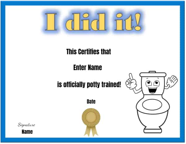 Toilet training certificate