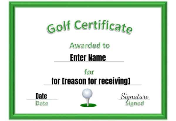 Golf award template