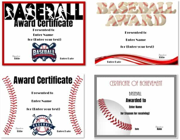 Baseball award certificates
