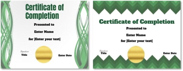 Completion Certificate templates