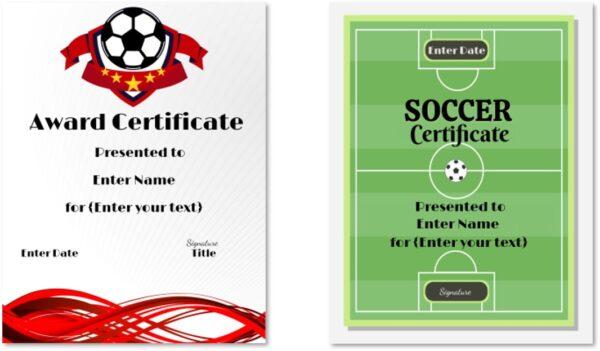 Printable certificates for Soccer