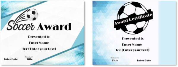 Printable soccer awards