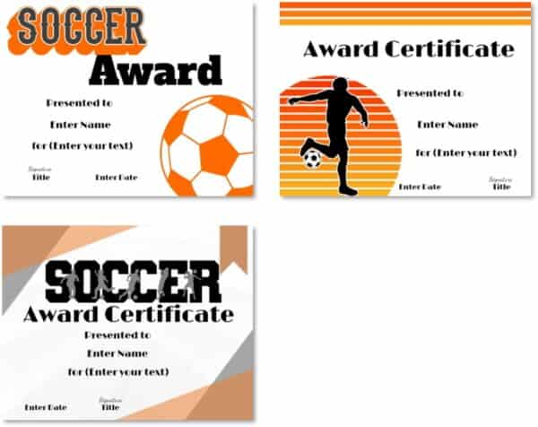 Soccer certificate printables
