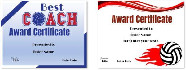 Volleyball award certificates