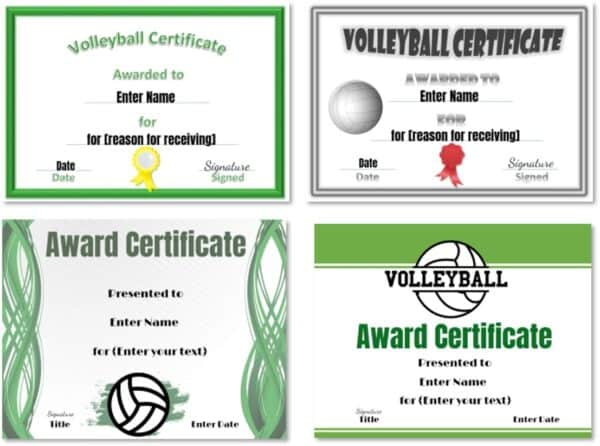 Volleyball certificates