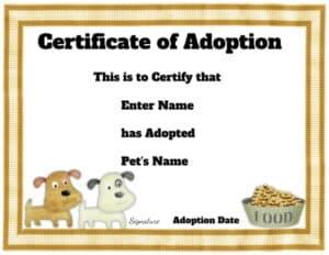 Dog adoption certificate - 10