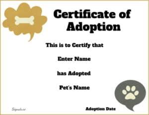 Animal certificate
