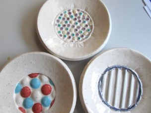 Round Clay soap dishes with stamped texture