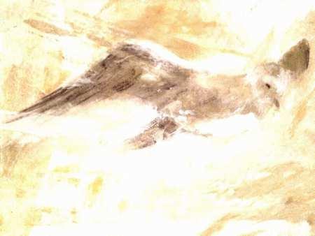 Das Bild zeigt eine Malerei in Acryl und Spachteltechnik. Man sieht darauf einen Vogel mit ausgebreitetem Flügel. Die Farben sind in ocker und grau gehalten.