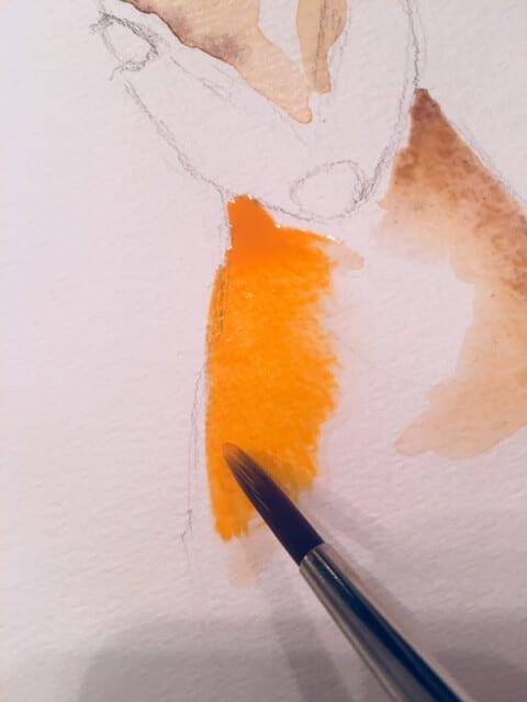 Du siehst wie Dodo mit Kadmium-Orange einen Farbakzent beim Rehfell setzt.