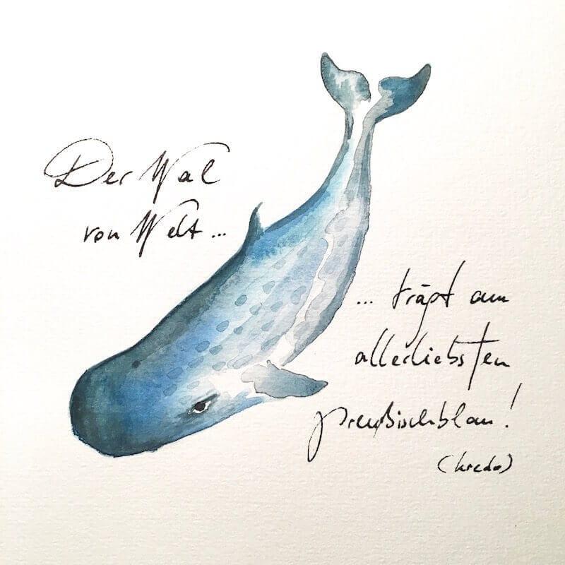 Ein Wal von Welt trägt Preußischblau