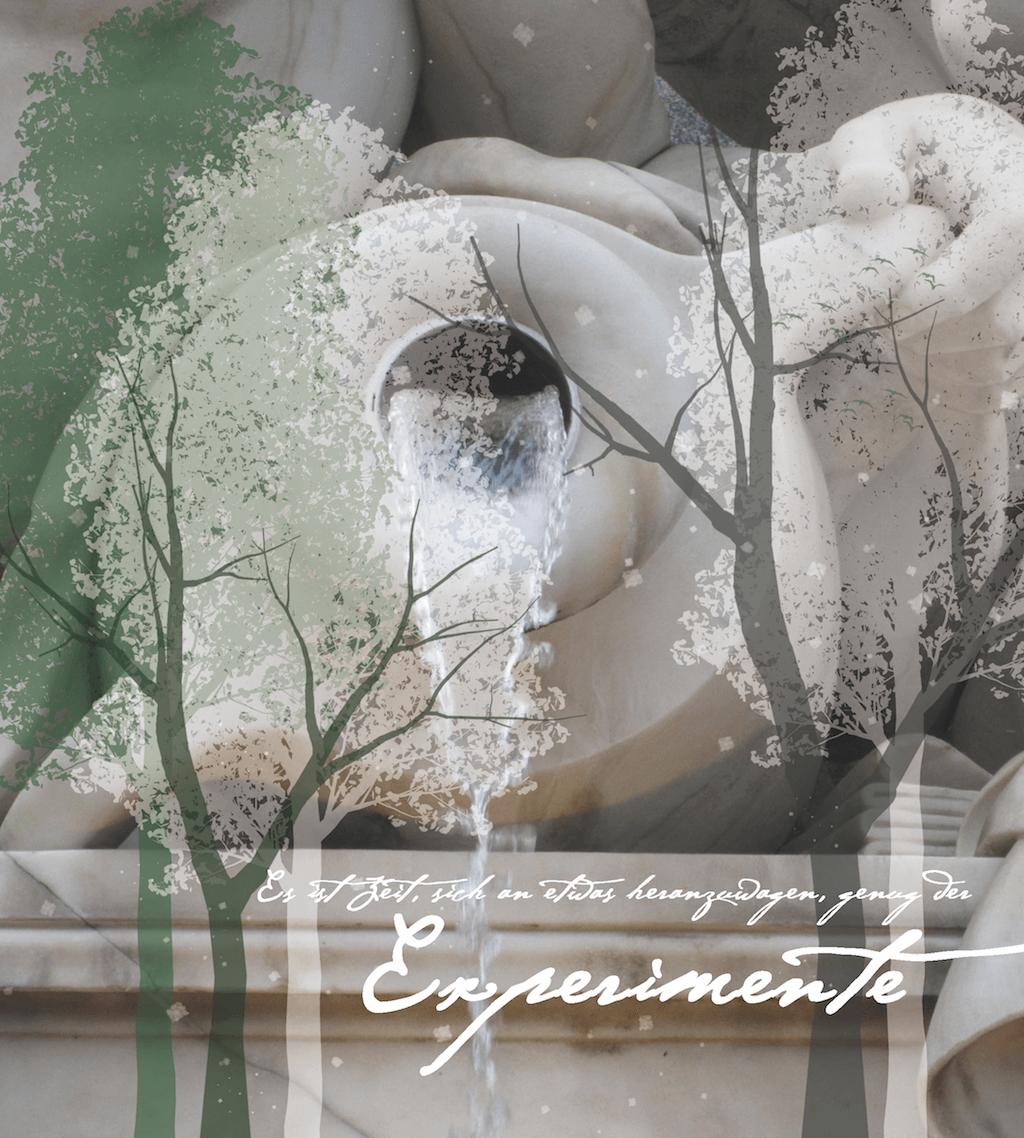 Du siehst eine Collage von Dodo Kresse. Sie zeigt Bäume und eine Amphore, aus der Wasser fließt. Dazu eine Zitat Es ist Zeit sich an etwas heranzuwagen, genug der Experimente