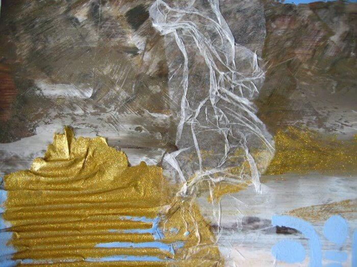 Man sieht ein Acrylbild der Künstlerin Dodo Kresse